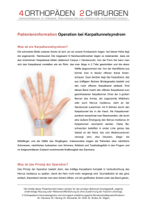 Patienteninformation Operation bei Karpaltunnelsyndrom