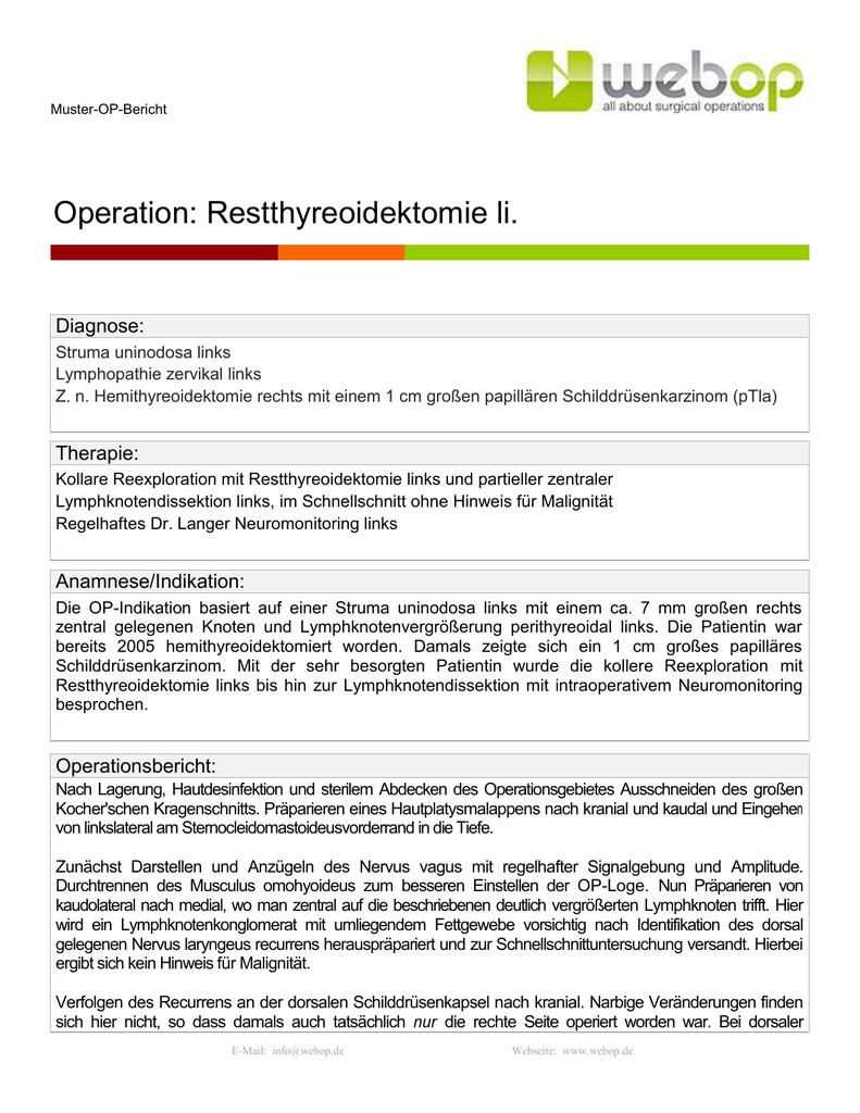 Muster-OP-Bericht