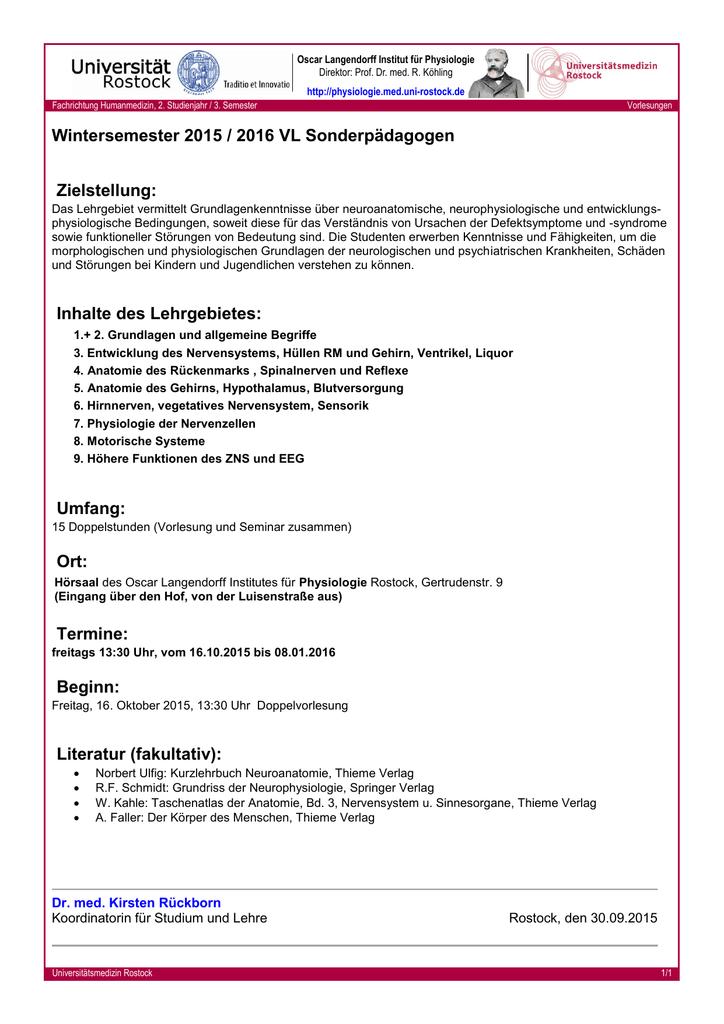 Allgemeine Informationen - Oscar Langendorff Institut für Physiologie