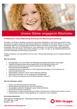 Praktikant/in Online-Marketing Schwerpunkt Marketing