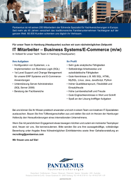 IT Mitarbeiter – Business Systems/E-Commerce