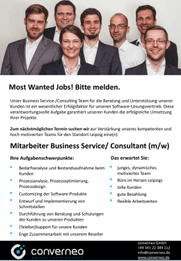 Mitarbeiter Business Service/ Consultant (m/w) Most Wanted Jobs