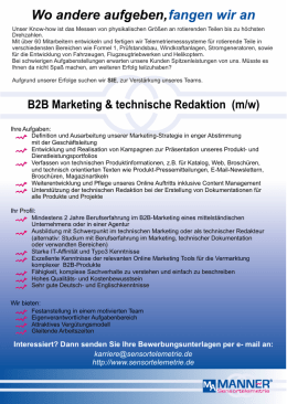 B2B Marketing & technische Redaktion (m/w)