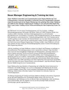Neuer Manager Engineering & Training bei Axis