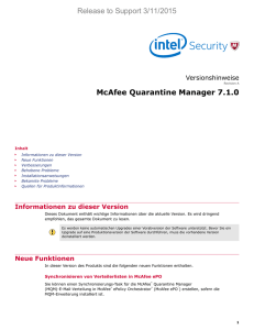 McAfee Quarantine Manager 7.1.0 Versionshinweise
