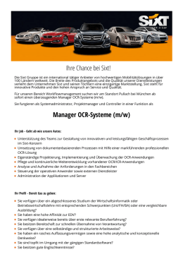 Ihre Chance bei Sixt! Manager OCR