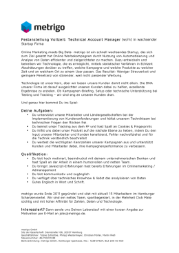 Festanstellung Vollzeit: Technical Account Manager (w/m) in