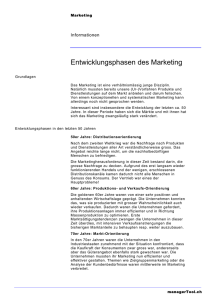 Entwicklungsphasen des Marketing - managerTool
