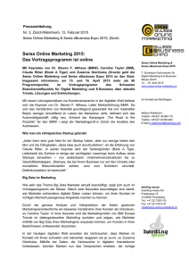 Swiss Online Marketing 2015: Das Vortragsprogramm ist online