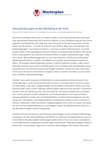 Herausforderungen an das Marketing in der Krise