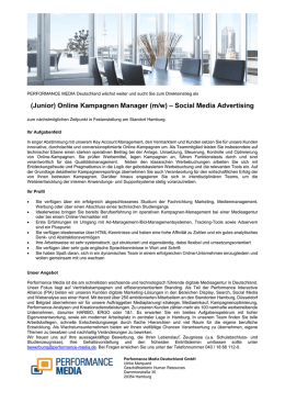(Junior) Online Kampagnen Manager (m/w) – Social Media