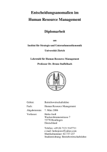 Entscheidungsanomalien im Human Resource Management