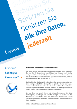 Acronis Backup and Recovery 11 Datenblatt