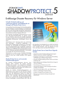 Erstklassige Disaster Recovery für Windows-Server