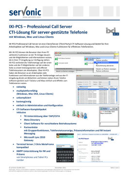 IXI-PCS – Professional Call Server CTI-Lösung für server