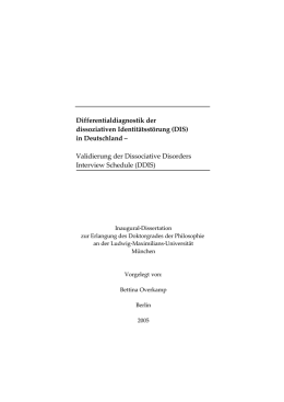 Differentialdiagnostik der Dissoziativen Identitätsstörung (DIS) in