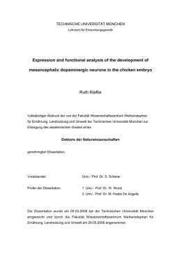 Expression and functional analysis of the development of