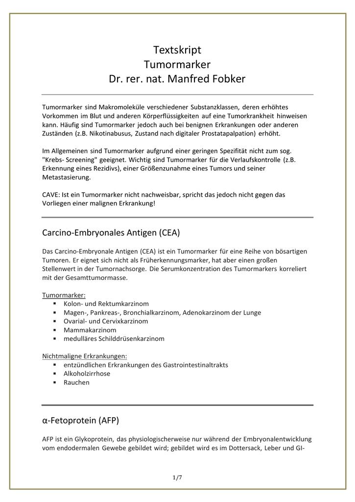 Textskript Tumormarker Dr Rer Nat Manfred Fobker