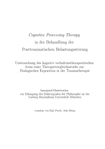 Cognitive Processing Therapy in der Therapie der
