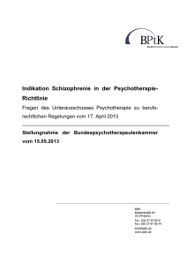 Indikation Schizophrenie in der Psychotherapie