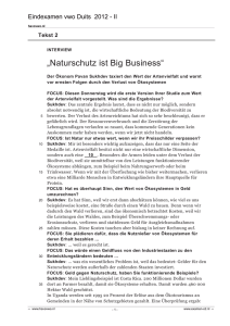 Naturschutz ist Big Business