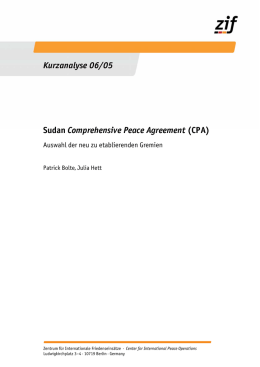 Sudan Comprehensive Peace Agreement (CPA) Kurzanalyse