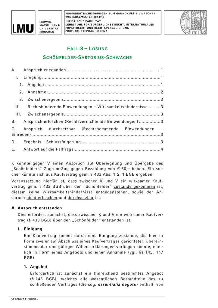 Fall 08 Lösung Juristische Fakultät
