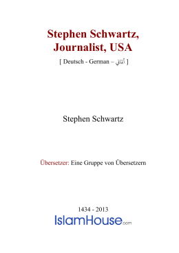Stephen Schwartz, Journalist, USA