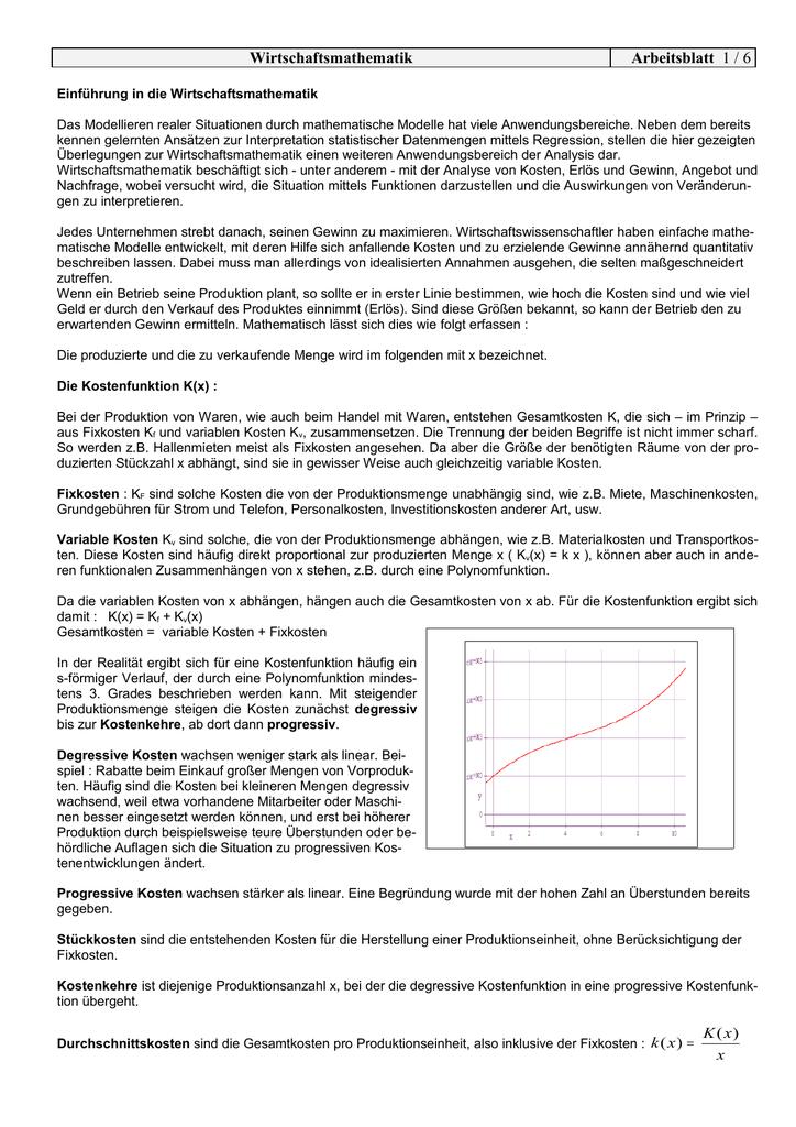 Einführung in die Wirtschaftsmathematik