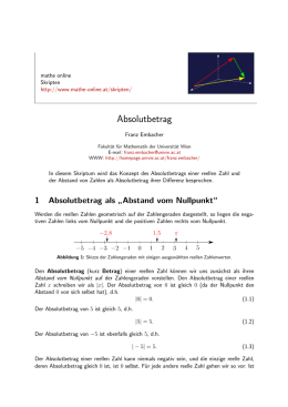 Absolutbetrag - Mathe Online