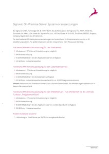 Signavio On-Premise Server Systemvoraussetzungen