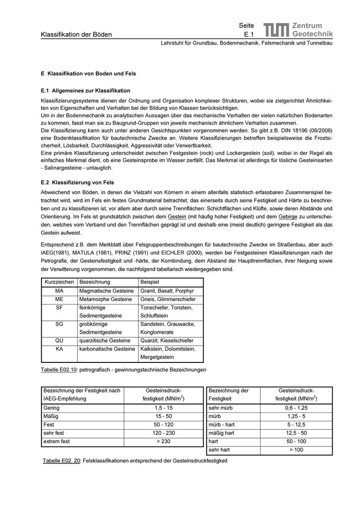 Klassifikation der Böden - Lehrstuhl und Prüfamt für Grundbau