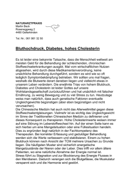 Bluthochdruck, Diabetes, hohes Cholesterin