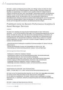 Praktikant (m/w) im Bereich Performance Analytics & Asset Manager