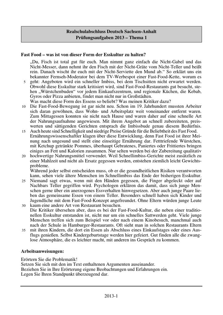 2013-1 Realschulabschluss Deutsch Sachsen