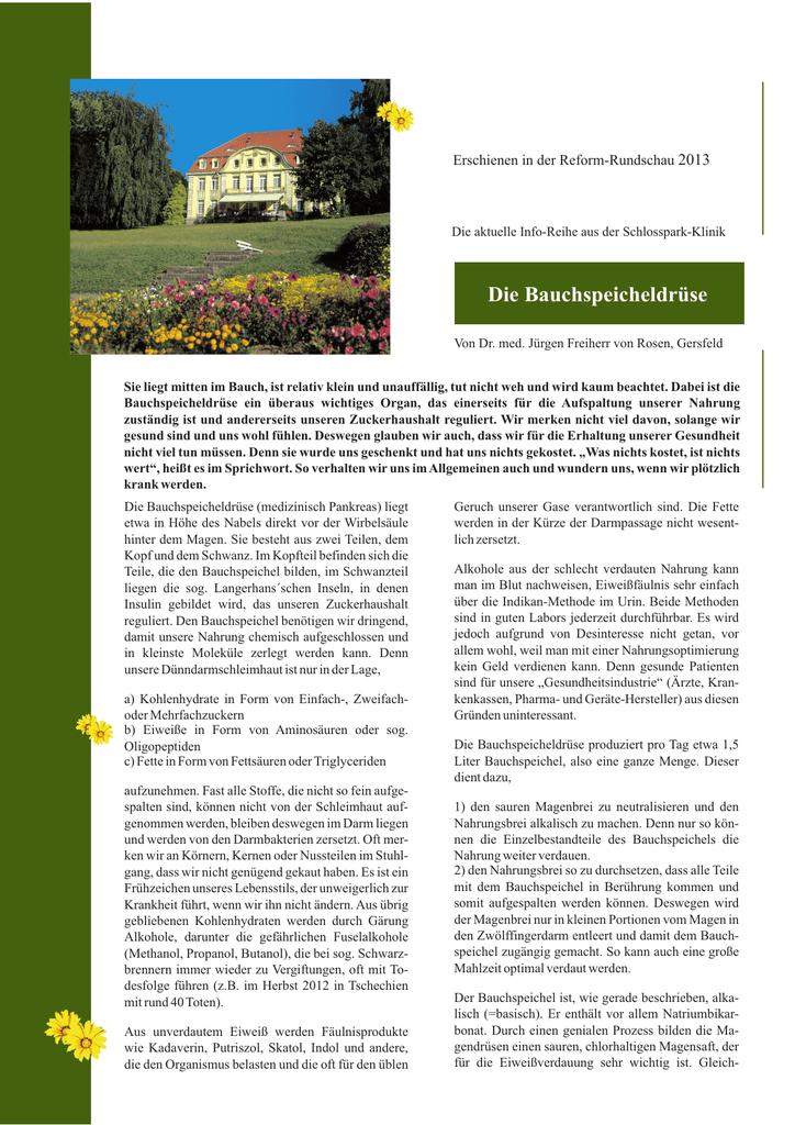 Die Bauchspeicheldrüse Schlosspark