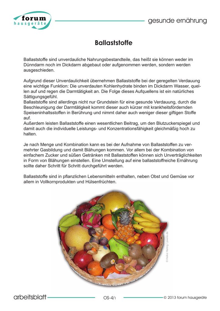 arbeitsblatt gesunde ernährung Ballaststoffe
