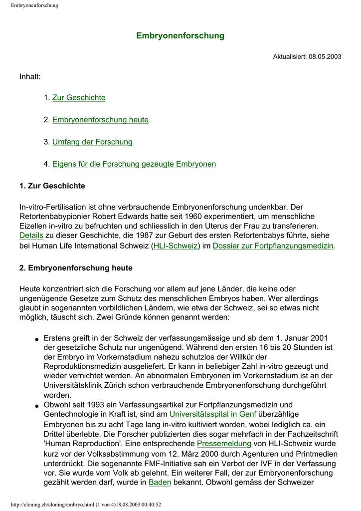 Warnen Fortpflanzungsmedizin Und Lebensschutz Veröffentlichungen Des Internationales F Studium & Wissen Medizin