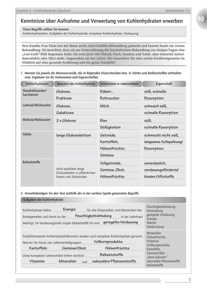 Kenntnisse über Aufnahme und Verwertung von Kohlenhydraten