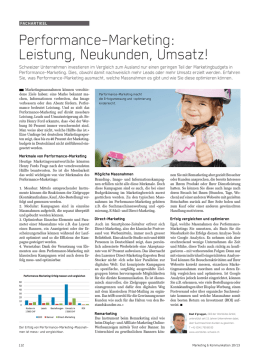 Performance-Marketing: Leistung, Neukunden, Umsatz!