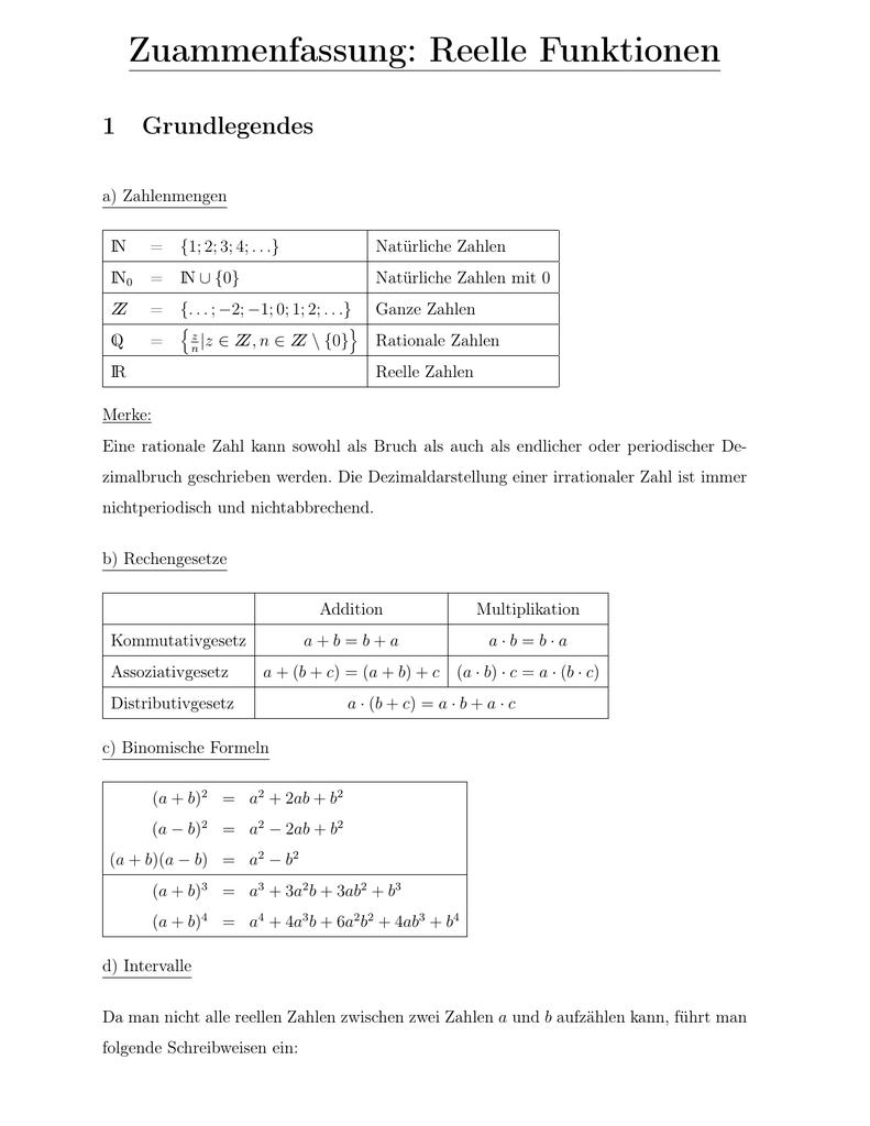 Zusammenfassung für die Q11: Funktionen