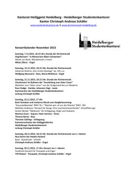 HfK aktuell 2013 - Hochschule für Kirchenmusik Heidelberg