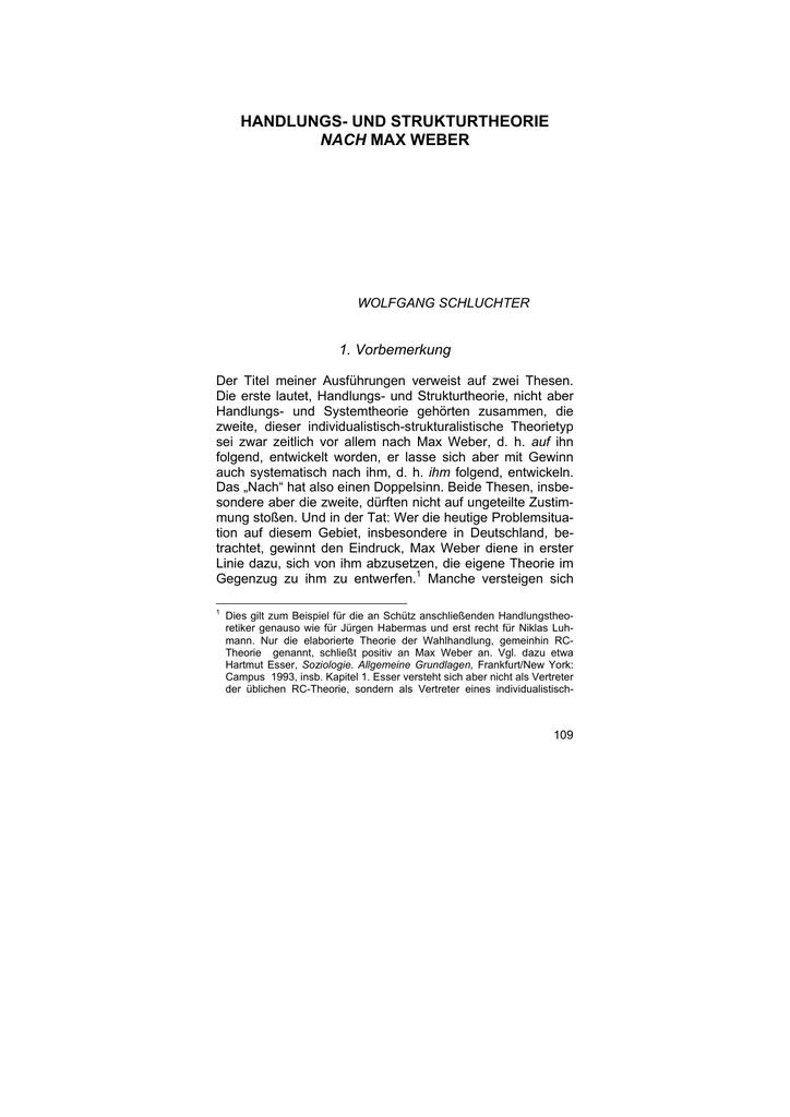 Handlungs- und Strukturtheorie nach Max Weber
