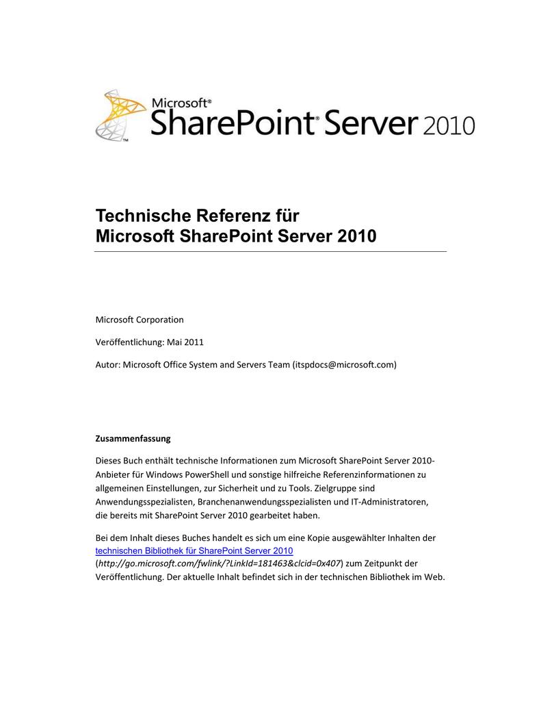 Technische Referenz für Microsoft SharePoint Server 2010