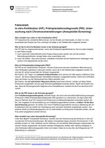 Faktenblatt: In-vitro-Fertilisation (IVF), Präimplantationsdiagnostik