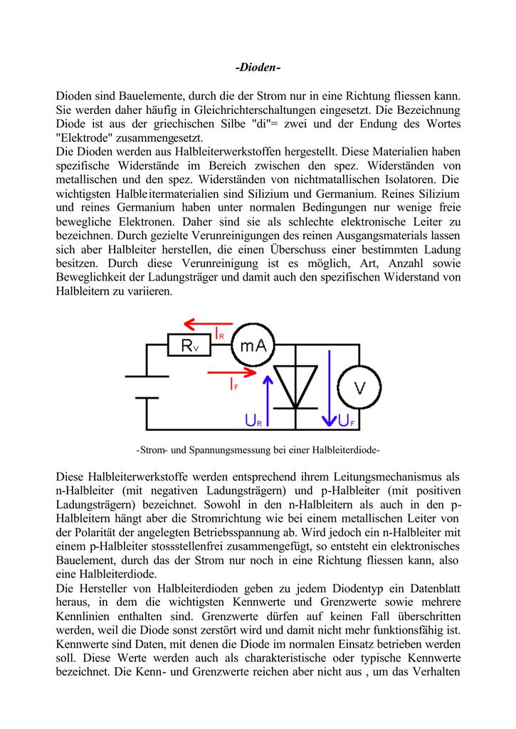 Der Stromdurchgang durch die Diode. Technologie der Wissenschaftstechnik 16