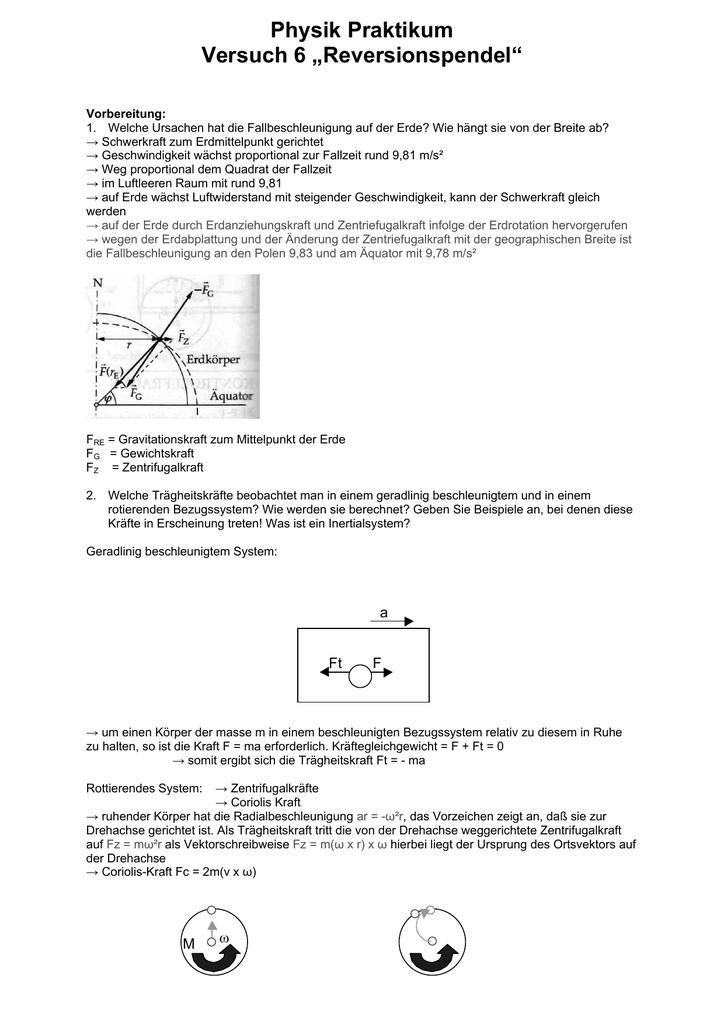 "Physik Praktikum Versuch 6 ""Reversionspendel"" - muskeltier"