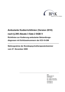 Ambulante Kodierrichtlinien (Version 2010) nach § 295 Absatz 3