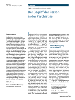 Der Begriff der Person in der Psychiatrie