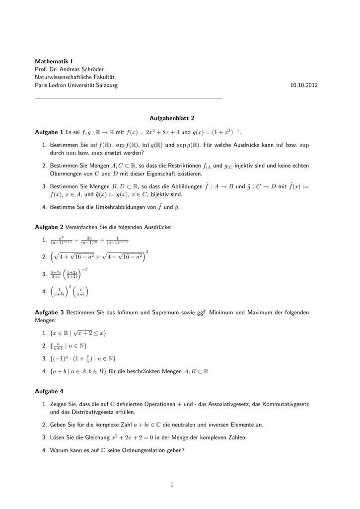 Mathematik I Prof. Dr. Andreas Schröder Naturwissenschaftliche